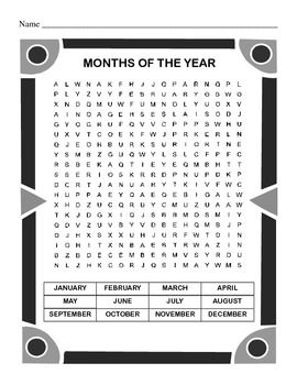 Months of the Year Word Search Puzzle / Second Grade / Thi