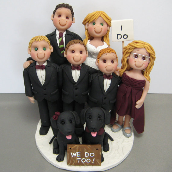 Blended Family Wedding Cake Topper Handmade Using Polymer Clay Clayinaroundetsy