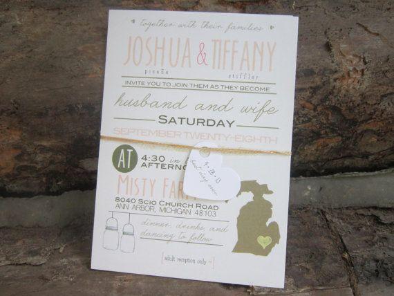 Rustic wedding invitation & save the date modern by LittleMissMrs