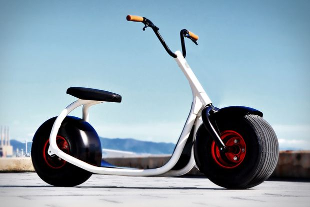 The Scrooser is the Harley Davidson of the sidewalk. This fantastic looking machine is a scooter which has a super silent battery powered engine inside the rear wheel. The makers claim that it'll last around 25 days in an urban environment. It does not require a license or helmet to use ...