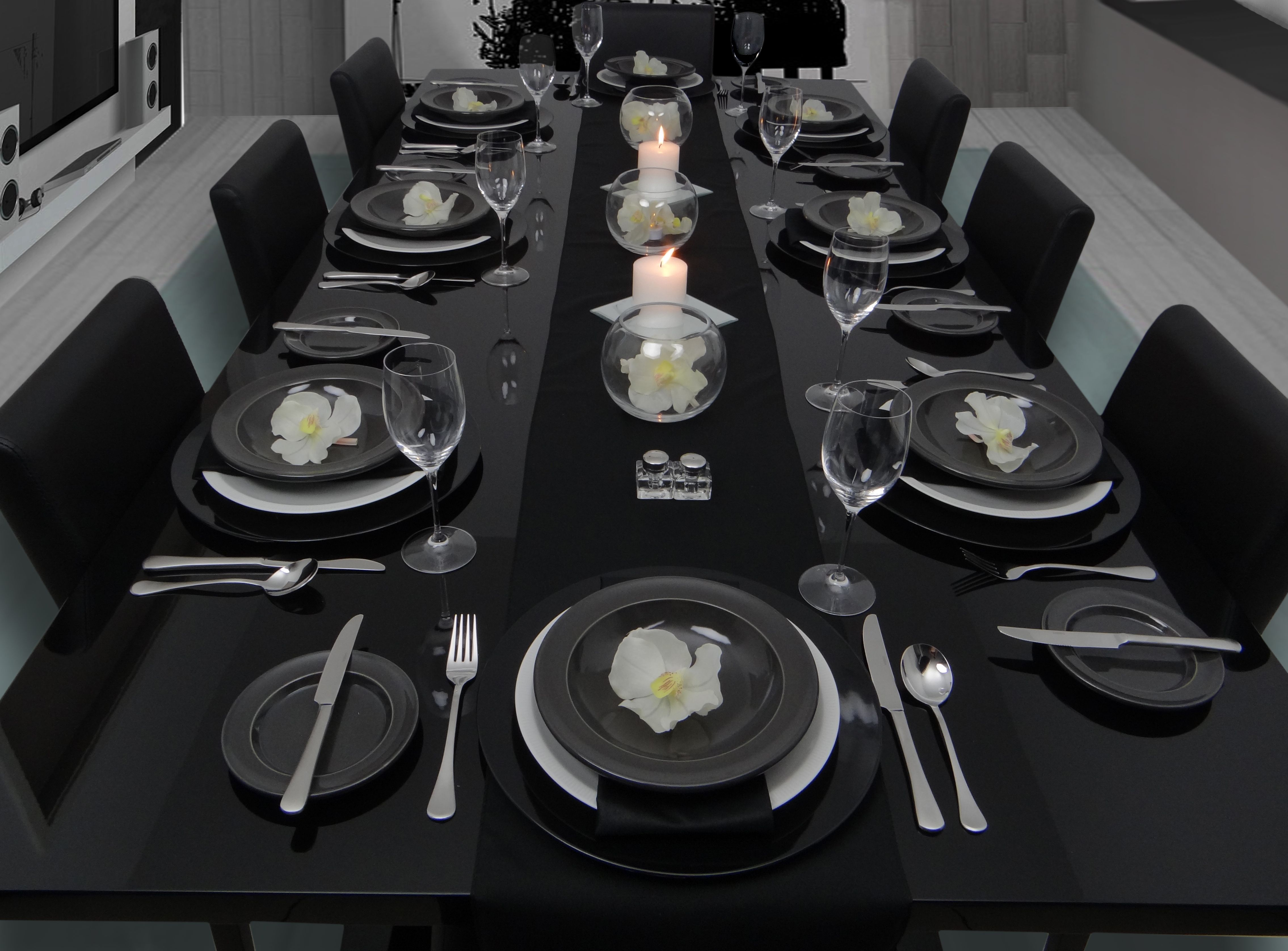 Vanda Orchids bring class and elegance to this table setting ...