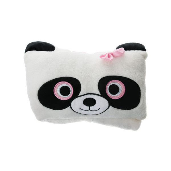 Panda Blanket with Pillow ($6.58) ❤ liked on Polyvore featuring home, bed & bath, bedding, blankets, panda blanket, plush blanket, pink plush blanket, winter blankets and winter bedding