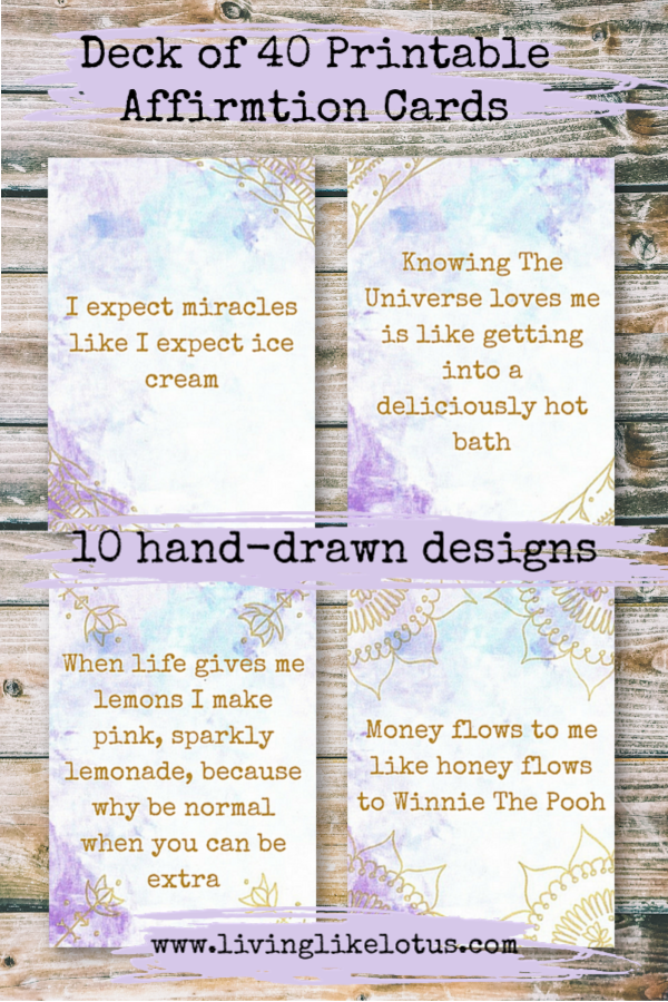 40 Quirky Printable Pdf Affirmation Cards These Card Offer You A Daily Dose Of Inspiration Along With A Bit O Affirmation Cards Affirmations How To Draw Hands