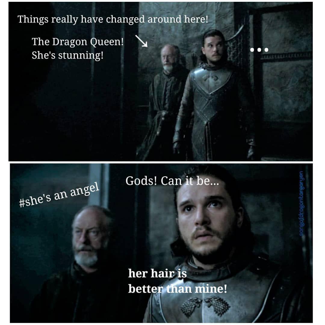 Jon Loves His Hair It Is Known Game Of Thrones Season 7 Funny Humour Meme Jon Snow Daenerys Targarye Game Of Thrones Funny Got Memes Game Of Thrones Facts