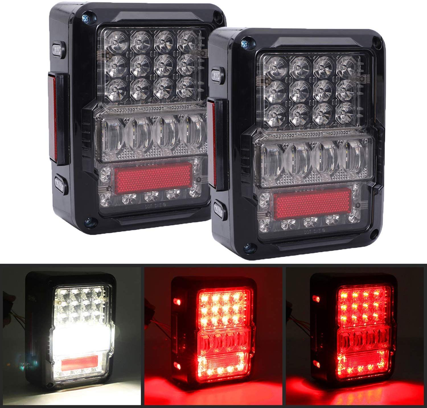 For Jeep Wrangler JK 2007-2017 LED Rear Lamps Tail Lights Accessories
