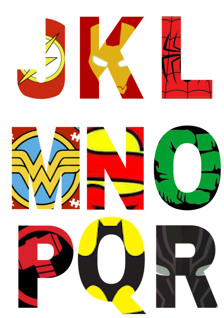 graphic relating to Superhero Letters Printable referred to as No cost Printable Superhero Alphabet Letters Marvel