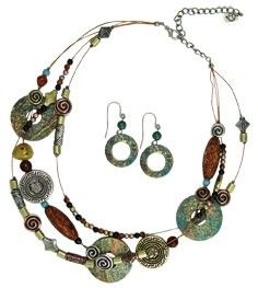 16-18'' 3 Row Metal Disc Necklace Patina Style with