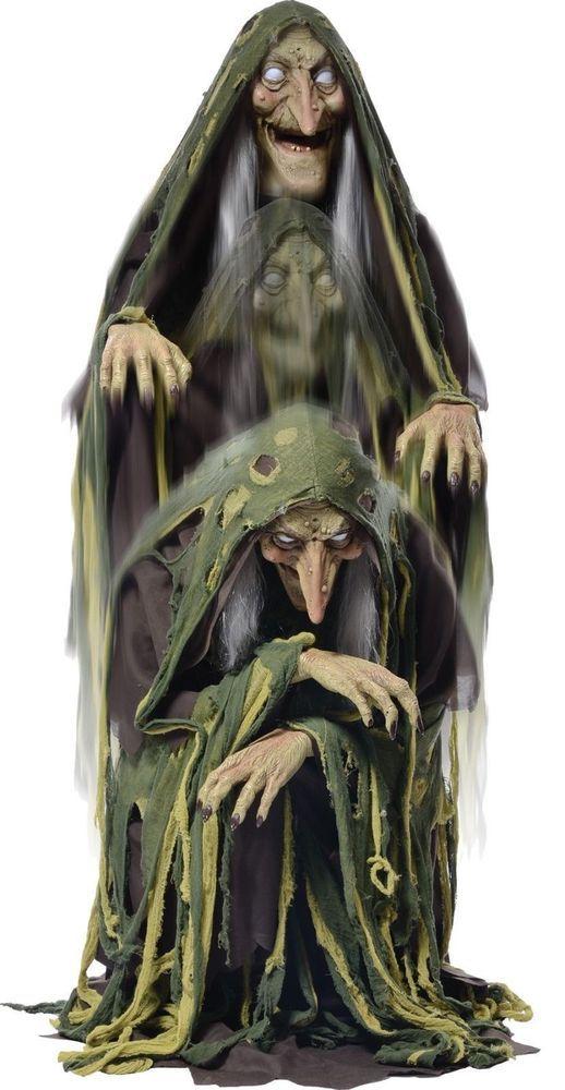 halloween haunted house animated life size grandin road swamp hag rh pinterest com