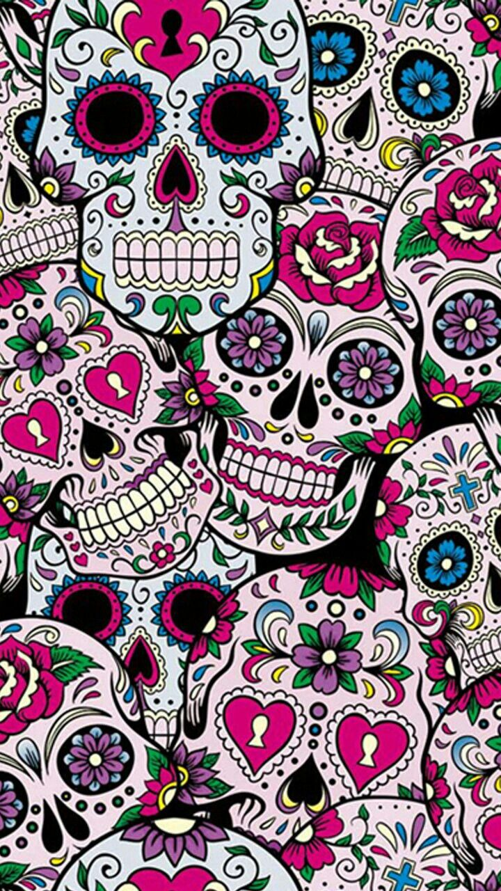 Skulls Sugar Skull Wallpaper Skull Wallpaper Pretty Phone Wallpaper