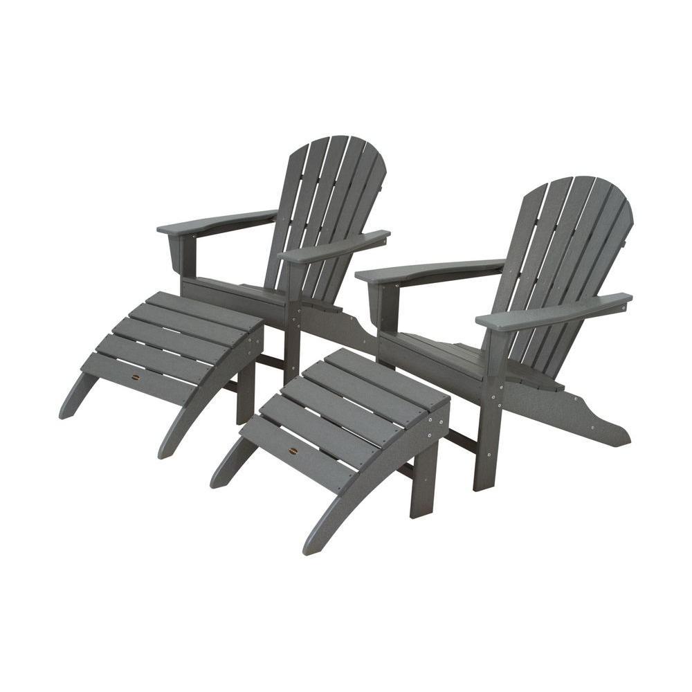 Polywood South Beach Slate Grey Plastic Patio Adirondack Chair 2