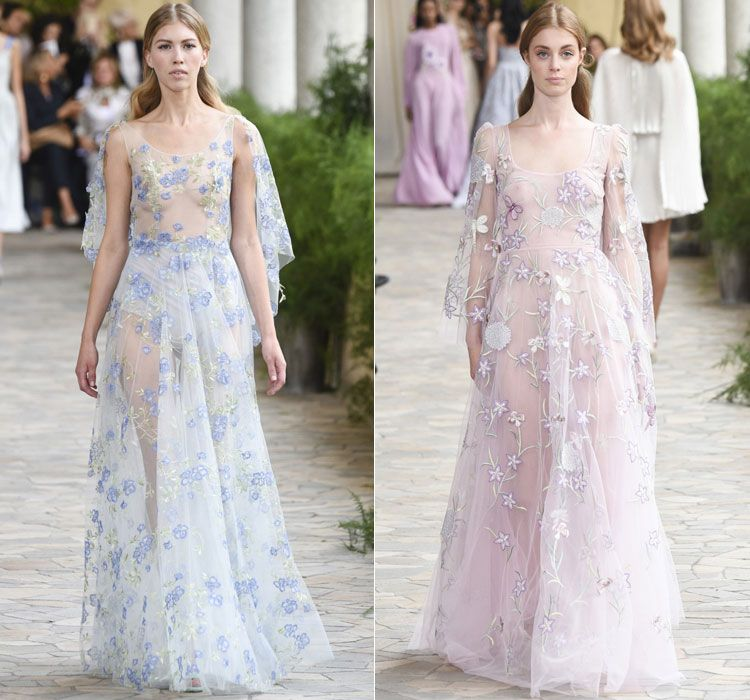 Полупрозрачные вечерние платья с цветочной вышивкой от ...