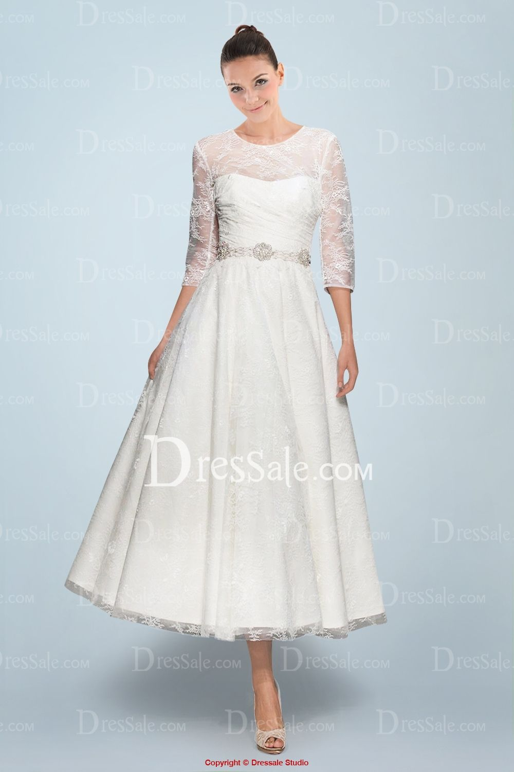 Illusion Neckline Tealength Wedding Dress With Lace Overlay And Beaded Belt: Lace Overlay Tea Length Wedding Dress At Reisefeber.org