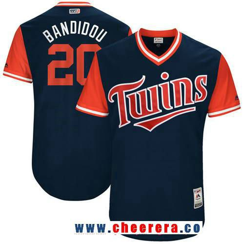 3f5892d8703 Men's Minnesota Twins Eddie Rosario -Baudidou- Majestic Navy 2017 Little  League World Series Players Weekend Stitched Nickname Jersey