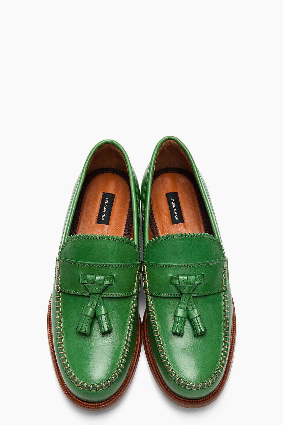 26f5fa80275 Dsquared2 Green Leather Classic College Tassled Penny Loafers in Green for  Men.