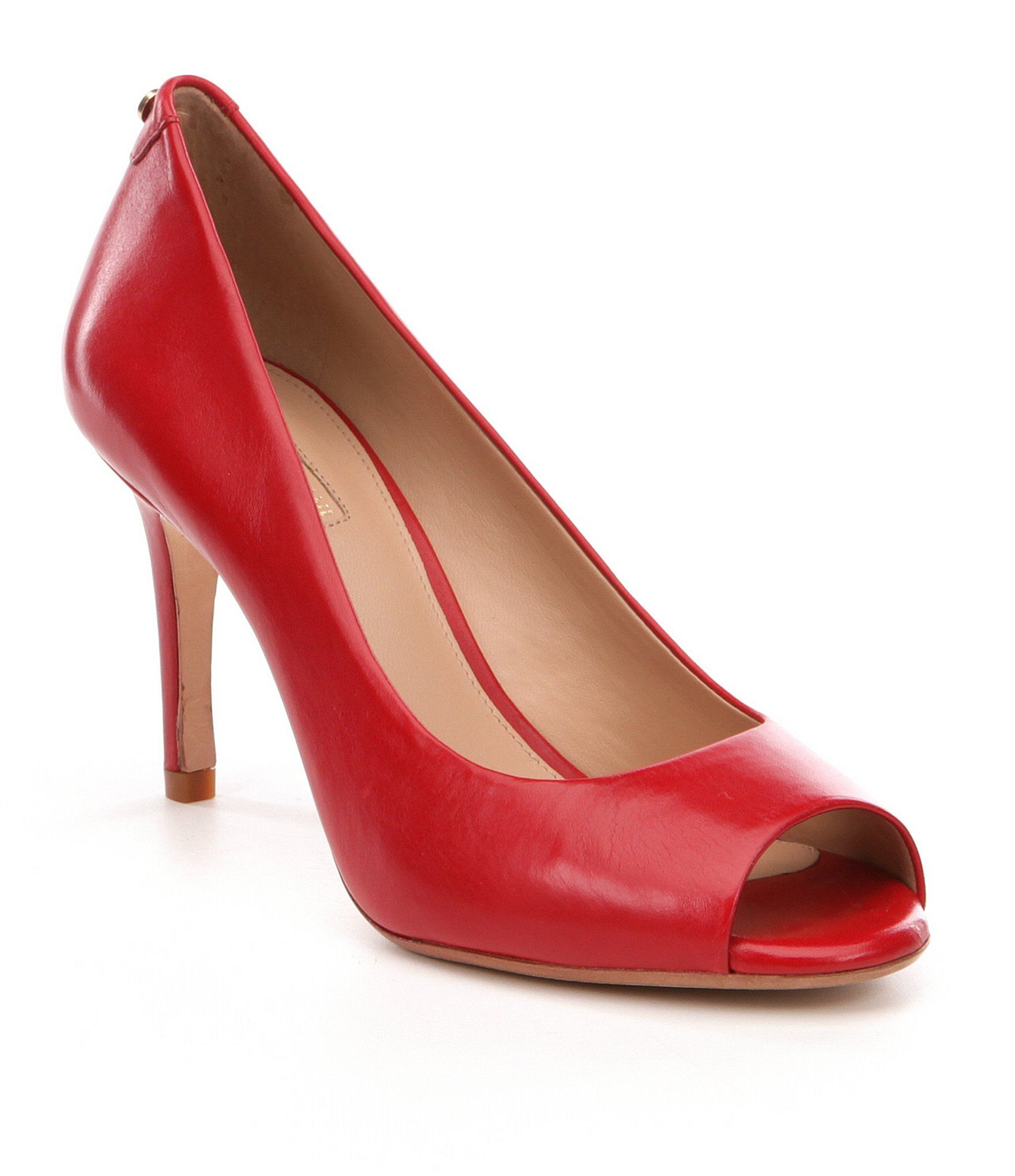 Rainah Leather Peep-Toe Pumps U2xFQq
