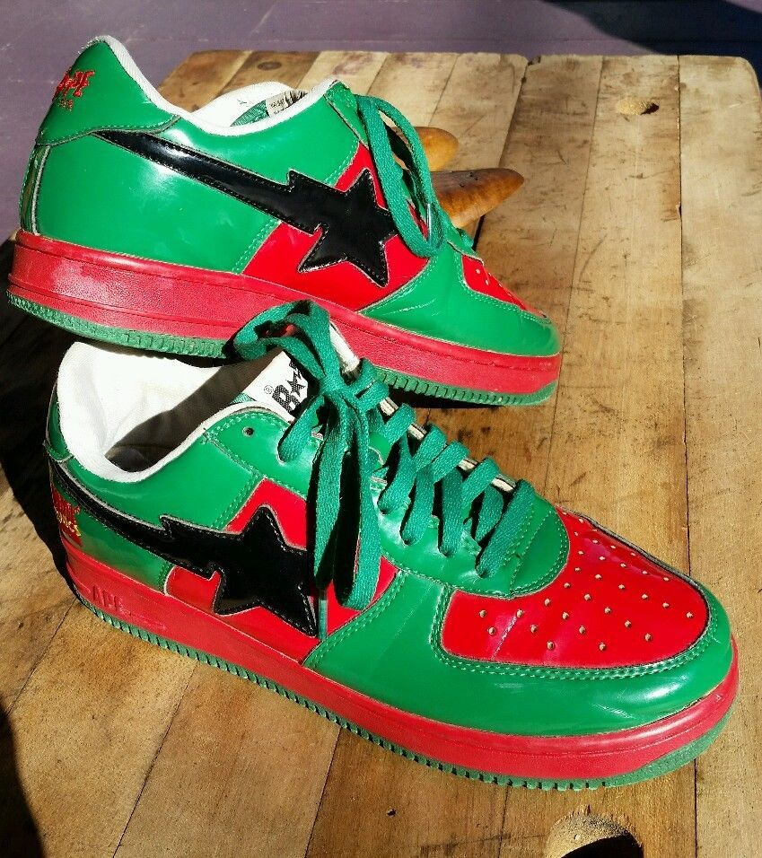 Bape Bapesta A Bathing Ape patent leather sneakers shoes Marvel Comics red  green #Bape #