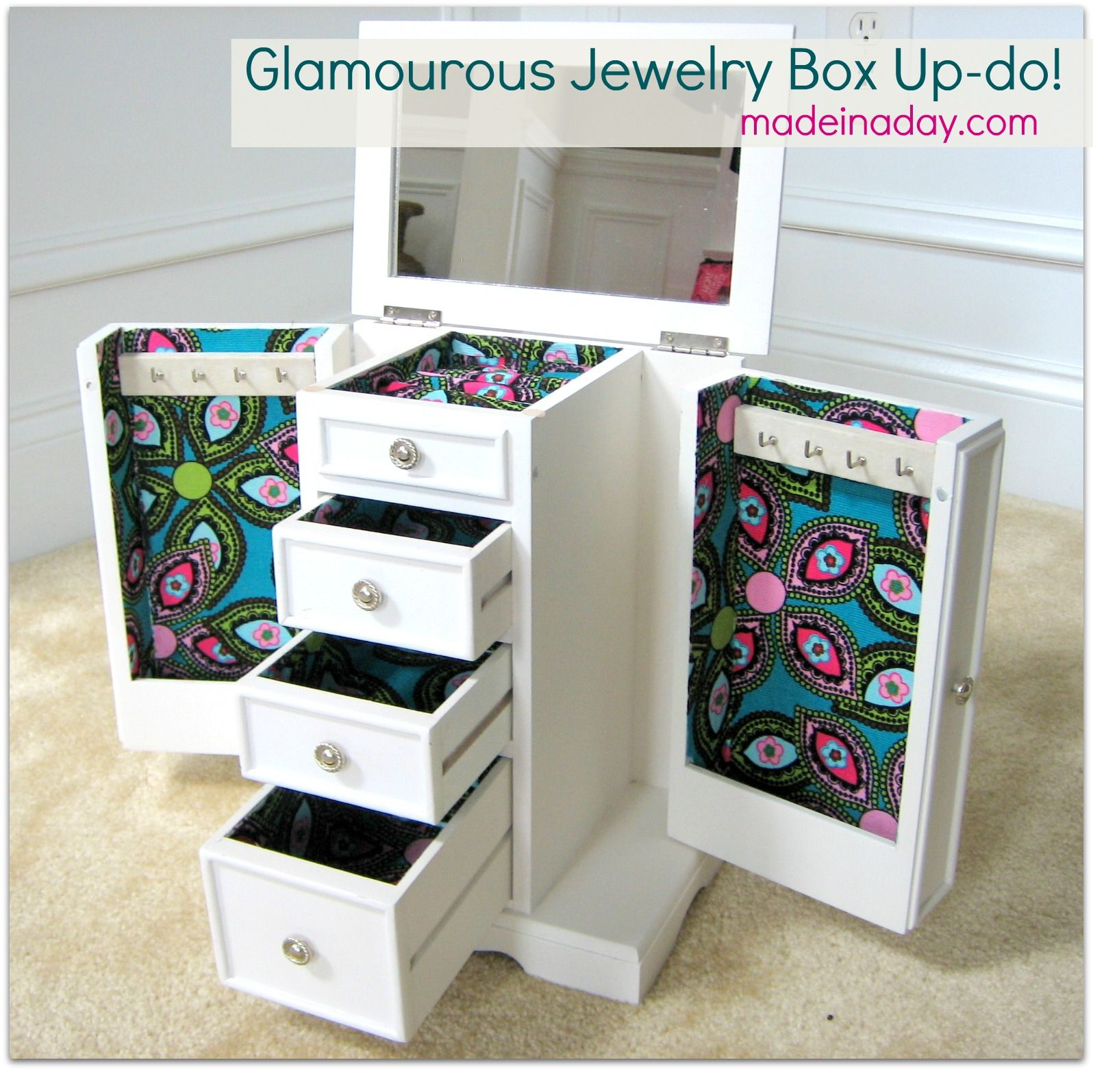 Jewelry box updo with Mod Podge fabric OrganizationCleaning