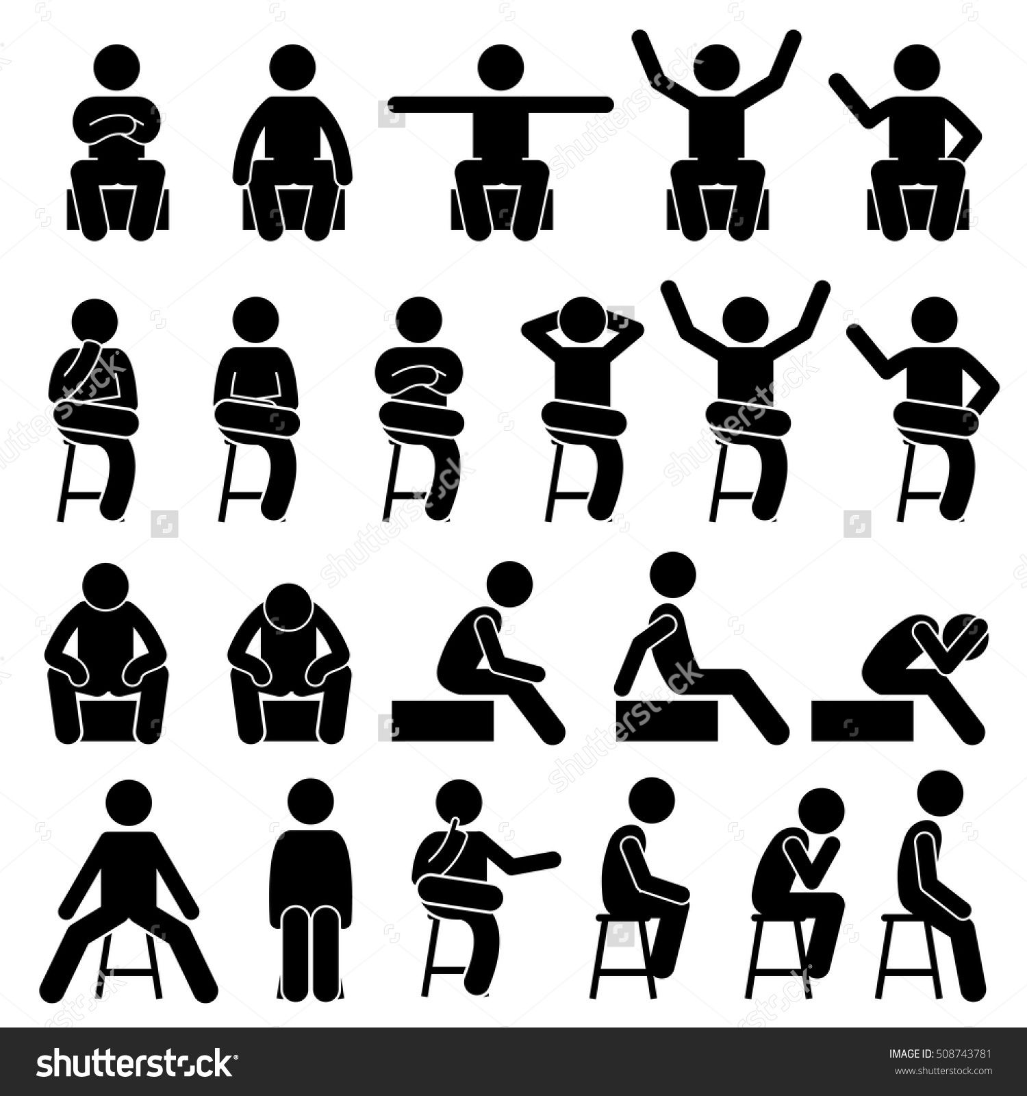Sitting On Chair Poses Postures Human Man People Stick