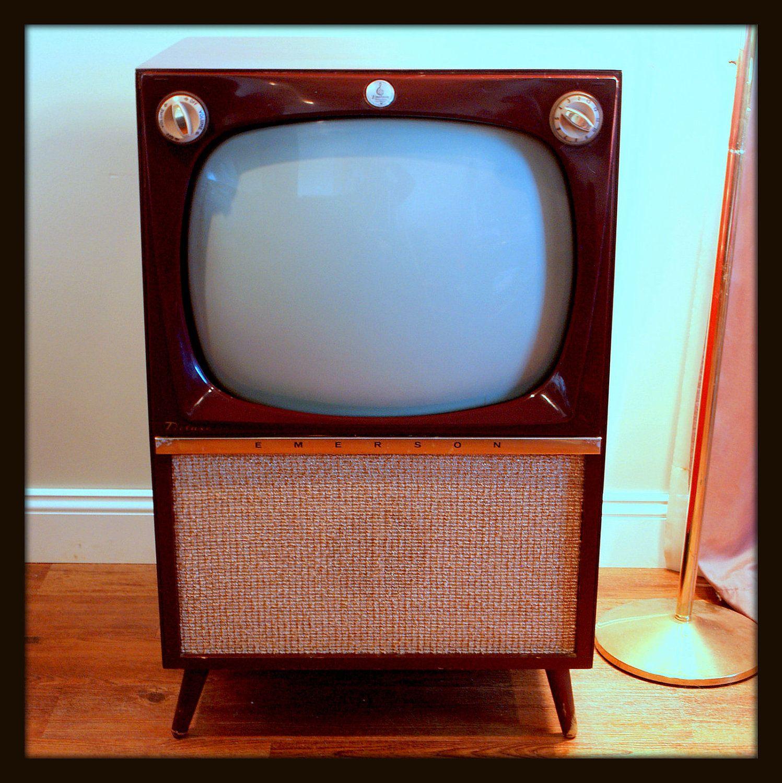 Rare Mid Century Modern 50s Atomic Tv Set 1956 Emerson Wood Etsy Vintage Tv Modern Tv Stand Retro Vintage