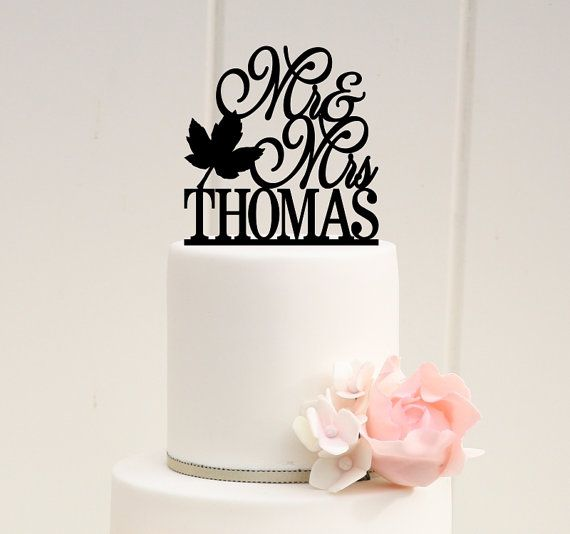 Mr and Mrs Fall Leaf Wedding Cake Topper with by ThePinkOwlGifts