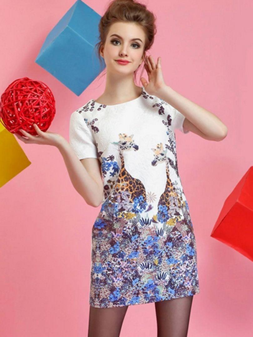 Floral And Giraffe Print Short Sleeve Dress | Choies | Clothes ...