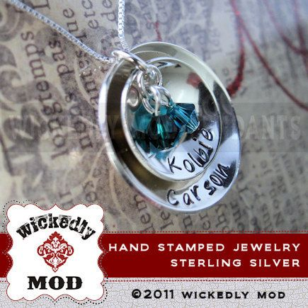 Hand Stamped Jewelry  Personalized Necklace by wickedlymodpendants, $63.00