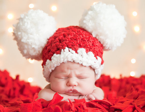 Baby Christmas Hat All Sizes Baby Santa Hat Newborn Baby Girl Hat