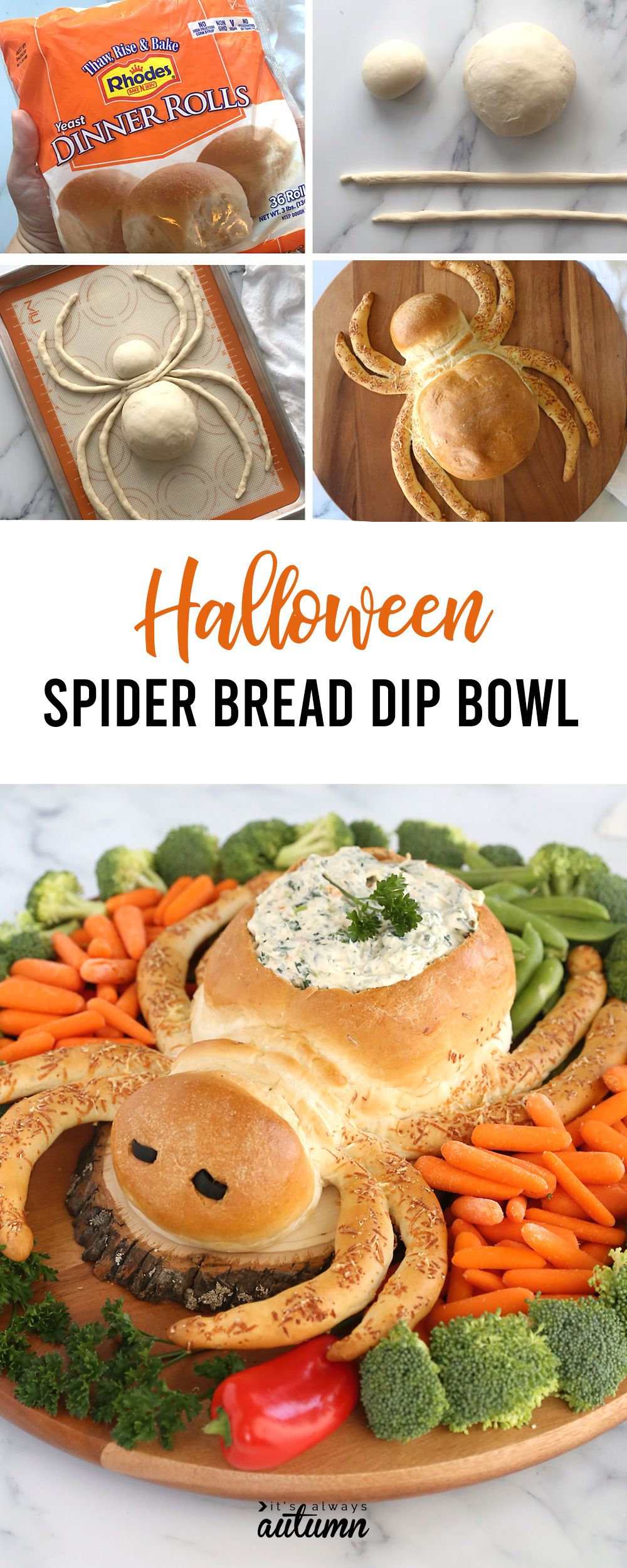 Spider Bread Dip Bowl {fun Halloween appetizer idea!} - It's Always Autumn