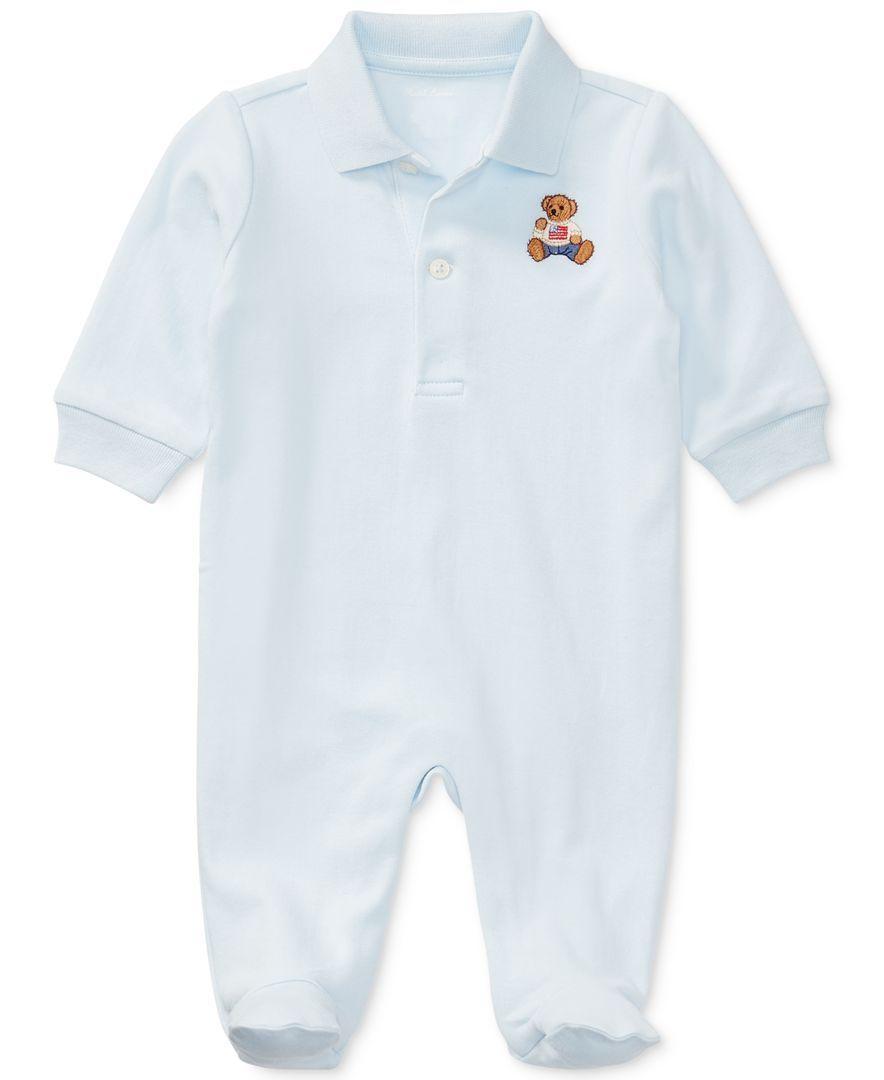 Ralph Lauren Baby Boy Navy Babygrow Coverall SUPERSOFT Size 6 9 months NWT summe