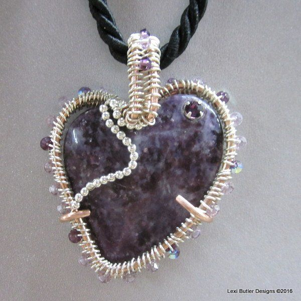 Wire Wrapped Copper Sterling Silver Heart-Shaped Purple Charoite Gemstone  Necklace