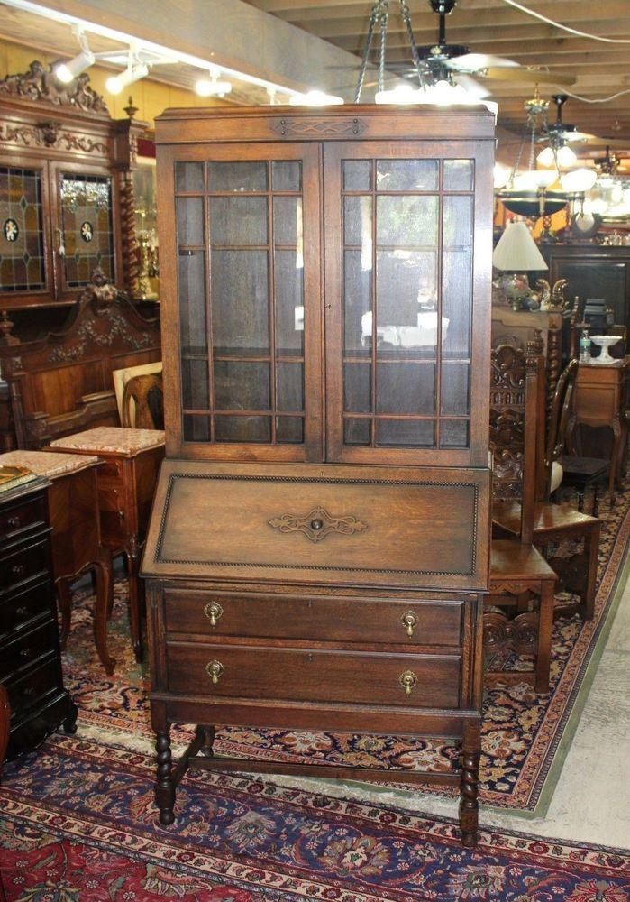 Beautiful English Antique Oak Barley Twist Secretary Drop Front Desk.  #BarleyTwist