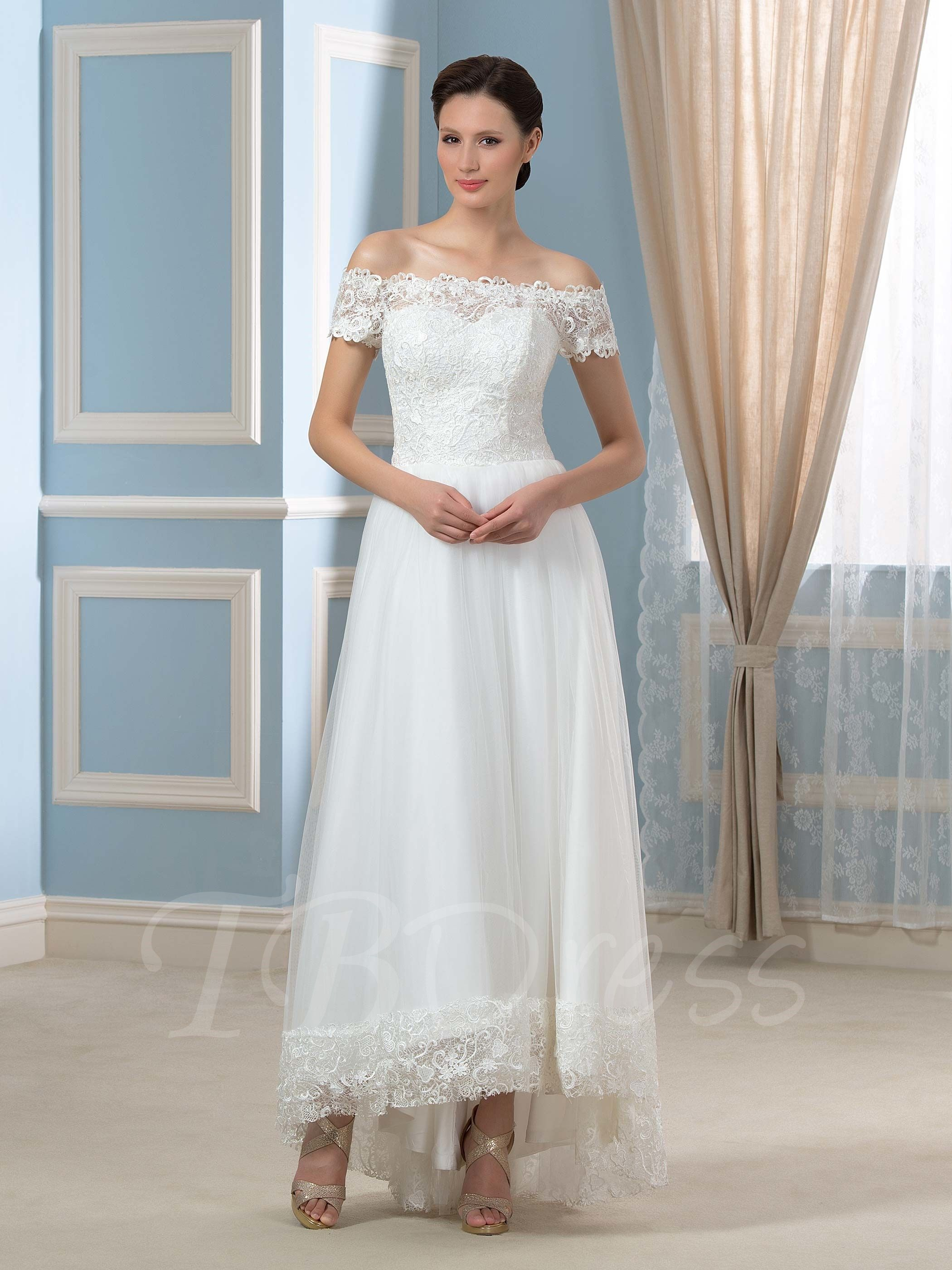 db4b8cabe040 Tbdress.com offers high quality Off-The-Shoulder Short Sleeve A-Line  Asymmetry Lace Tulle Wedding Dress Latest Wedding Dresses unit price of $  136.99.