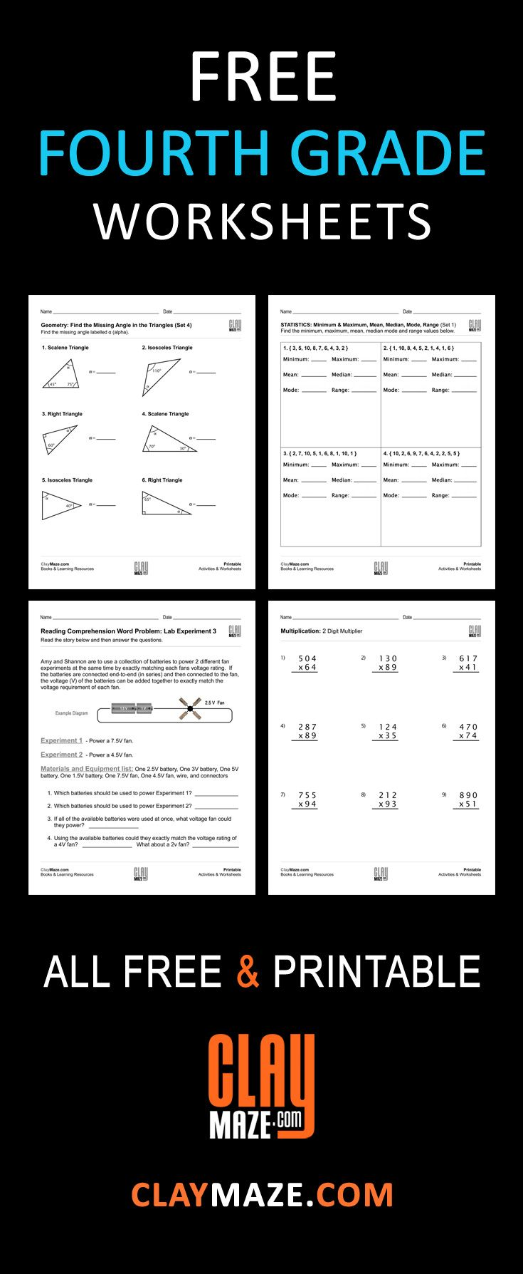 Free Fourth Grade Worksheets (Grade 4) Our collection of free 4th ...