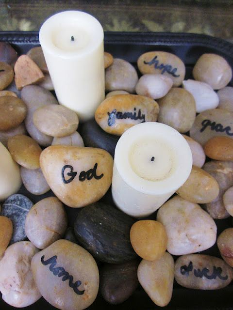 rock candle centerpiece for the home pinterest centerpieces