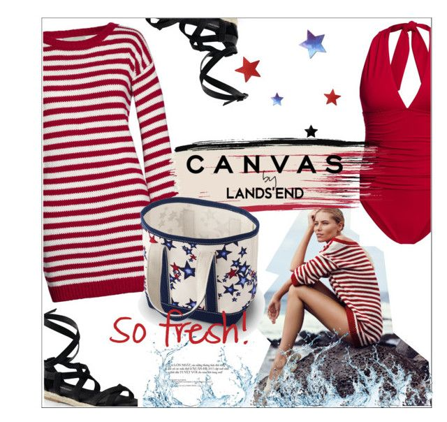 """Paint Your Look With Canvas by Lands' End: Contest Entry"" by meyli-meyli ❤ liked on Polyvore featuring Canvas by Lands' End, Lands' End, paintyourlook, canvasbylandsend and youaretheartist"