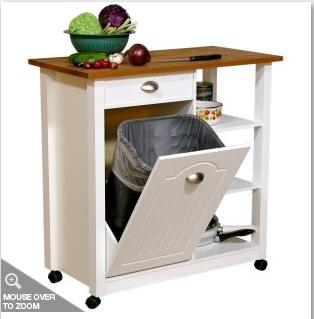 venture horizon butcher block top kitchen cart with trash bin item rh pinterest com