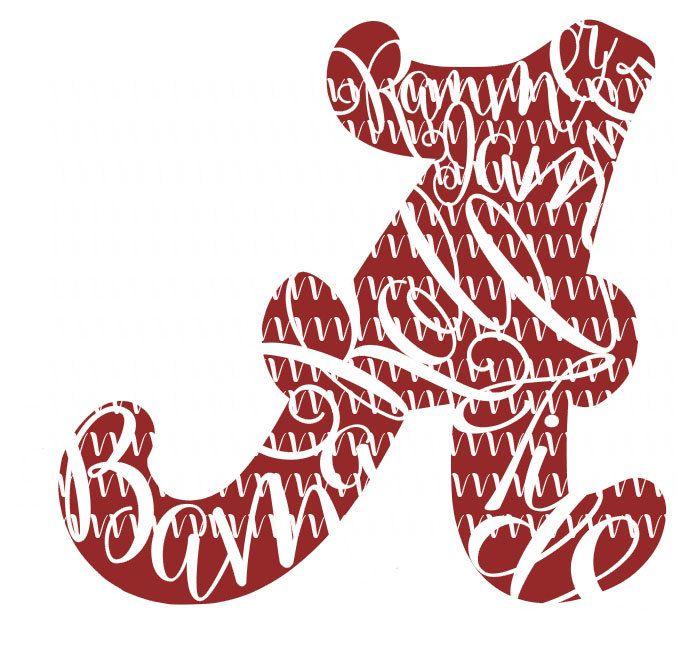 Fanciful letter a inspired crimson for roll tide custom svg cut file alabama tuscaloosa