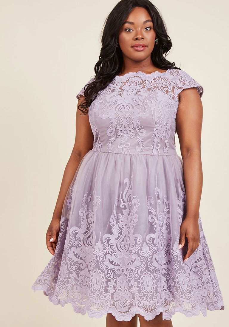ac91affb67f Chi Chi London Exquisite Elegance Lace Dress in Lavender in 2 - Cap Fit    Flare Knee Length - Plus Sizes Available