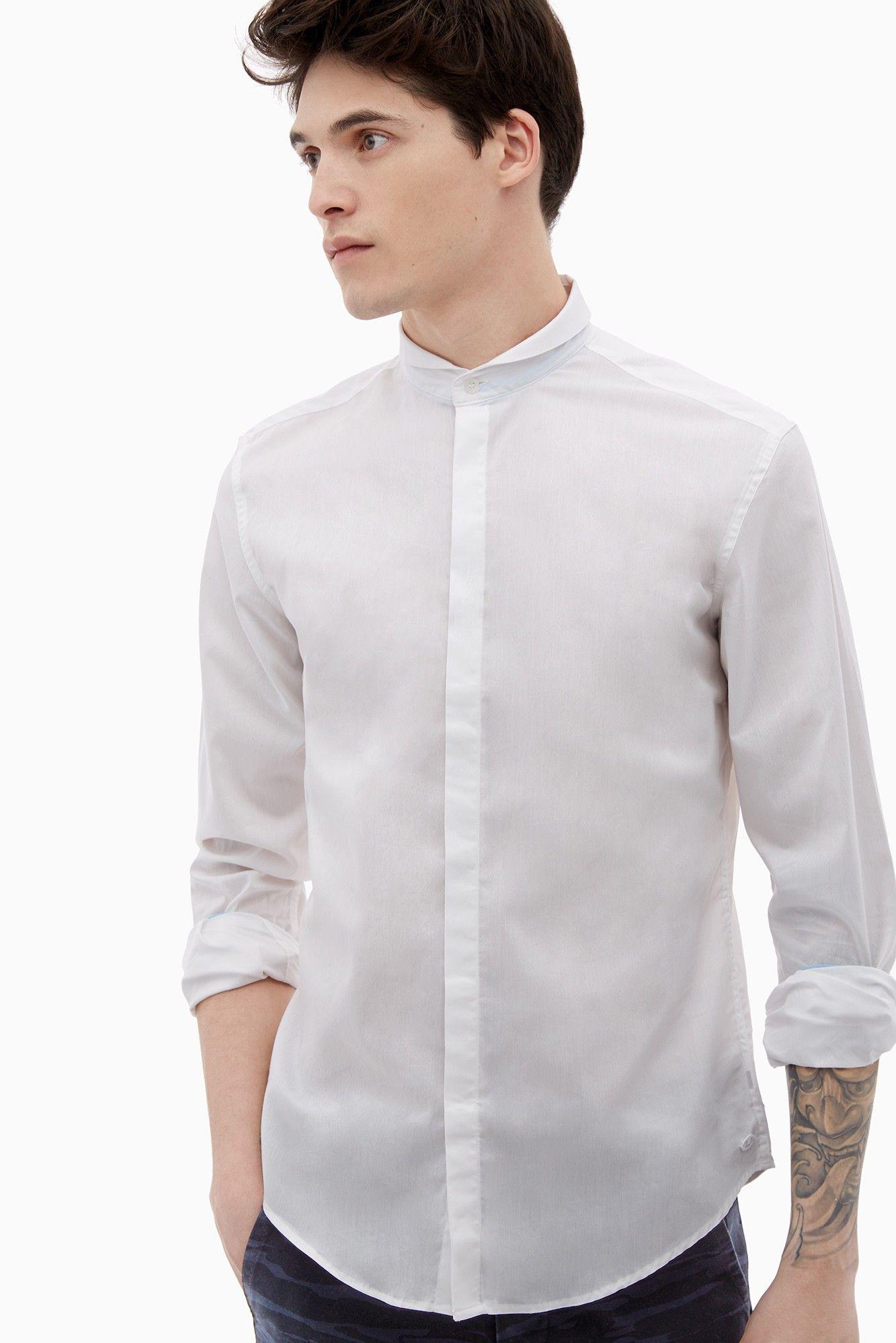 Camisa u boat con cuello mao adolfo dominguez shop for Adolfo dominguez outlet online