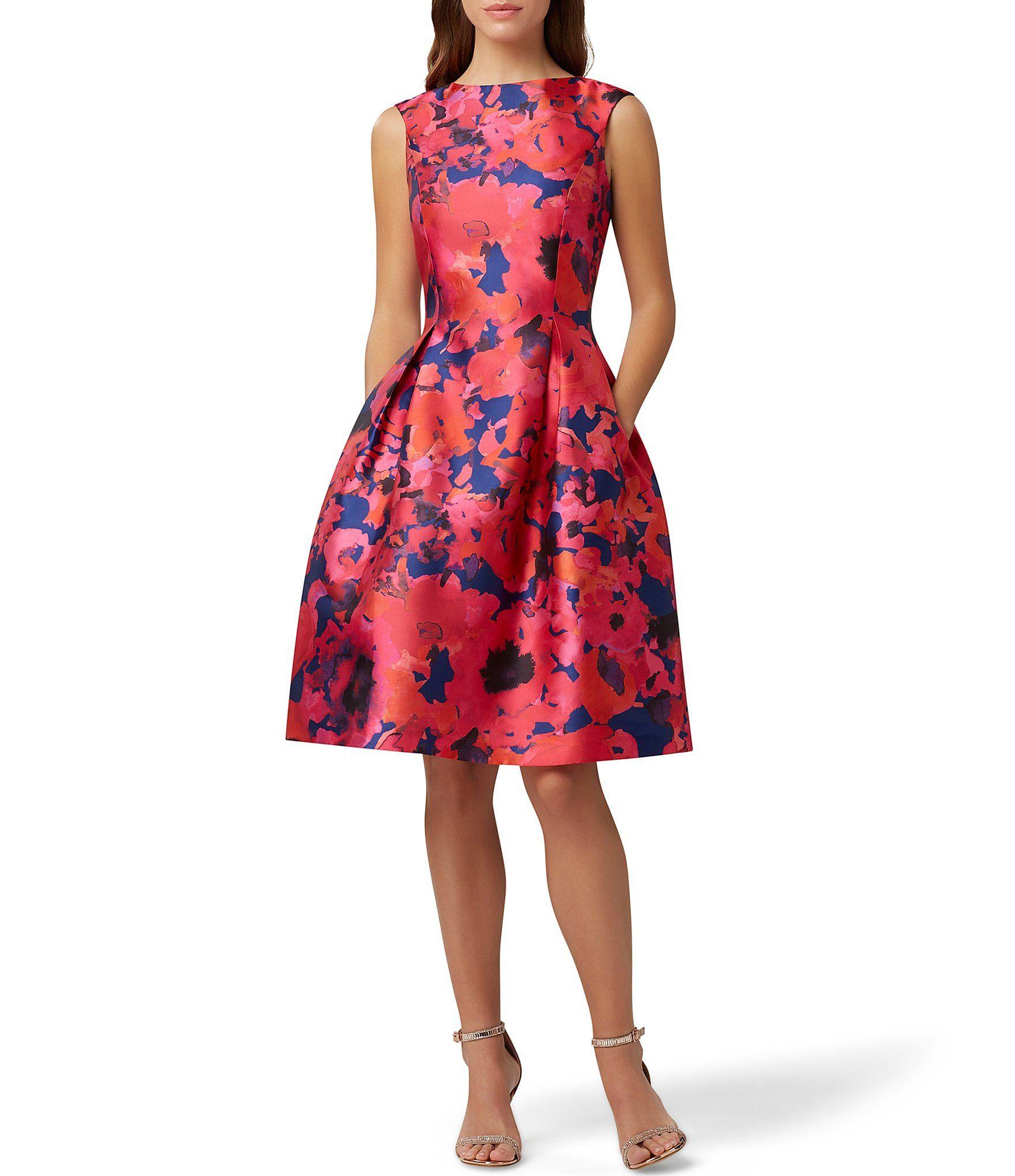 Tahari Asl Floral Print Duchess Twill Fit Flare Party Dress Dillard S In 2020 Fit And Flare Cocktail Dress Summer Cocktail Dress Fit And Flare Dress [ 2040 x 1760 Pixel ]