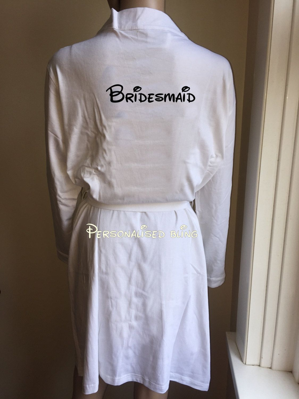 disney bridesmaid robe cotton robe disney robe wedding day robe ...