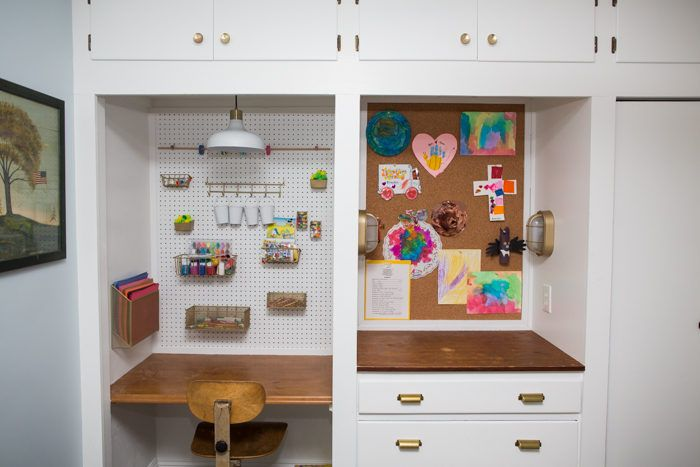 Playroom Art Display Wall. A little cork-board can turn a blank wall in to a beautiful area to display your kiddos art!