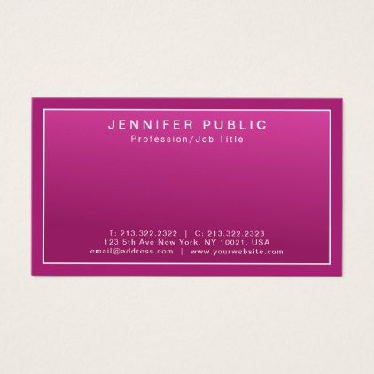 Create your own modern elegant pink clean plain business card create your own modern elegant pink clean plain business card simple clear clean design style reheart Gallery