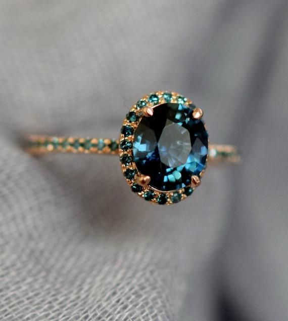 Blue Green sapphire engagement ring. Peacock sapphire oval halo blue green diamond ring 14k Rose gold ring by Eidelprecious