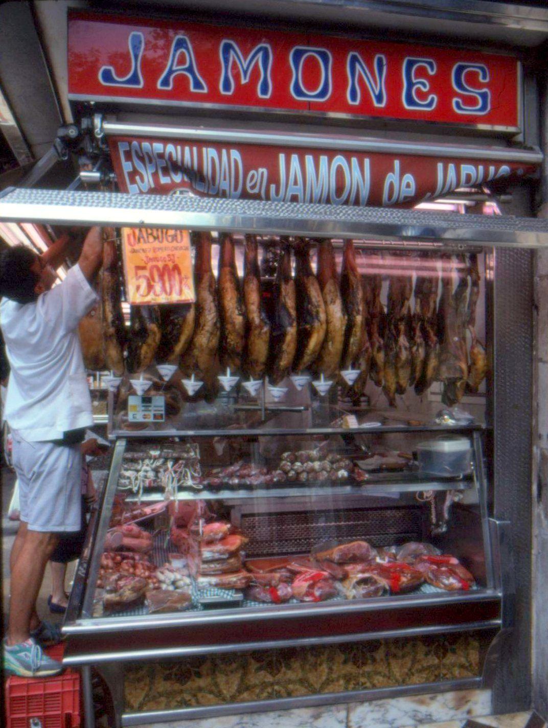 La Rambla Meat-Jamon Barcelona,  Spain.