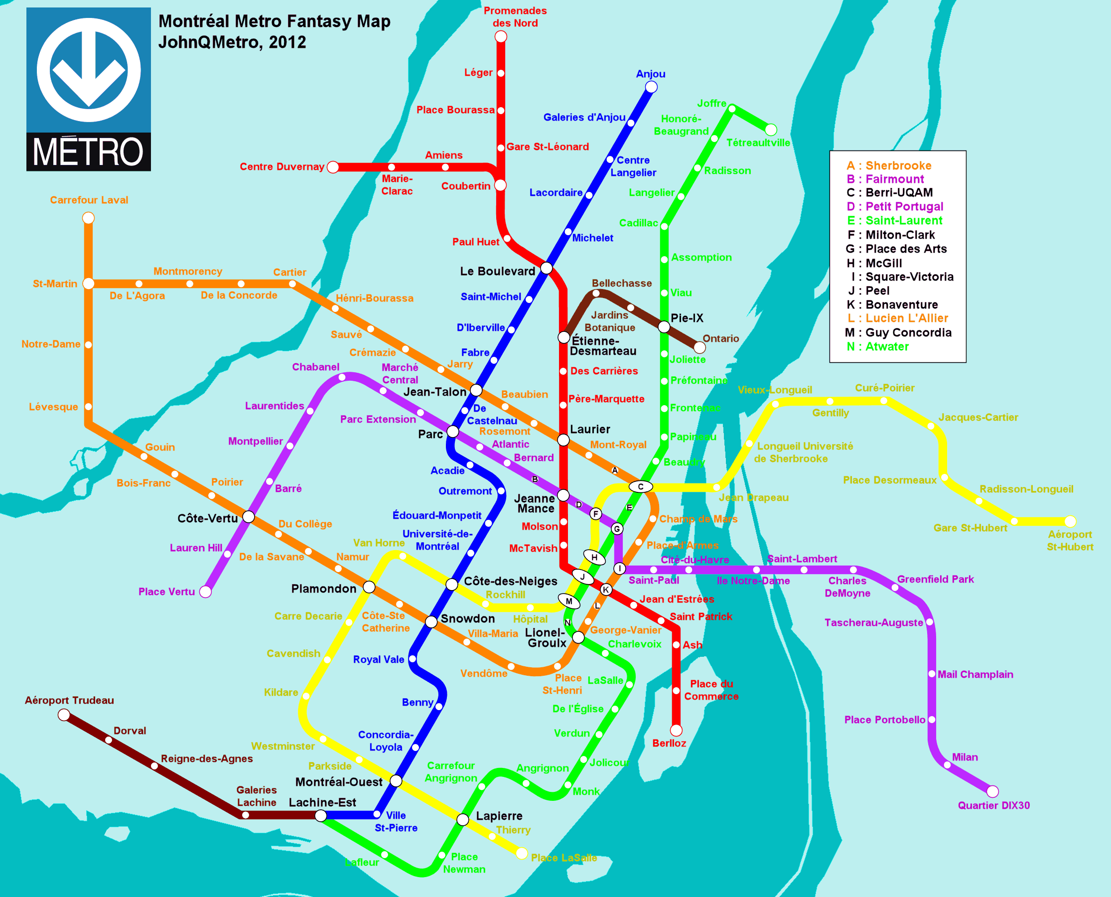 Montreal Canada Fantasy Metro Rail System Map By JohnQMetro - Quebec chicago map