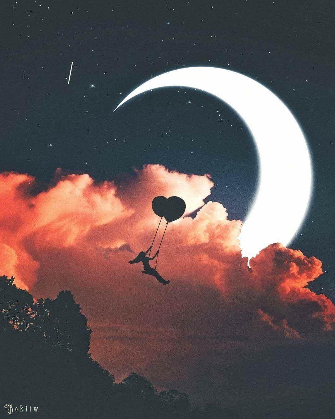 A Way To Sky Hd Wallpaper Moon Art Art Wallpaper Wallpaper Backgrounds