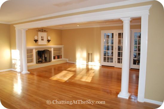 Columns And Built In Bookshelves To Separate Kitchen From Living Room Entry Way