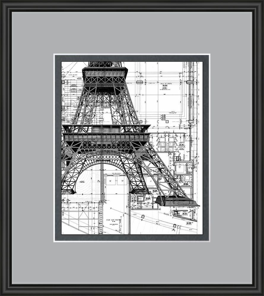 Eiffel tower and blueprint artwork custom framed in neutrals eiffel tower and blueprint artwork custom framed in neutrals malvernweather Gallery