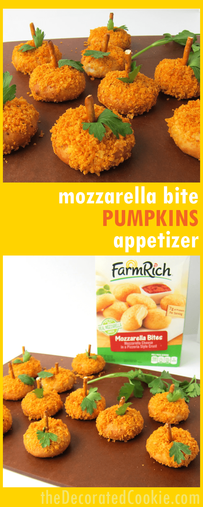 Halloween pumpkins appetizer -- quick Mozzarella bite appetizer for fall or halloween